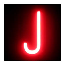 Letter Led Neon J Width 74mm Height 161mm Depth 38mm