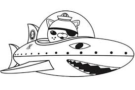 Small Picture Kwazii and Shark Submarine in The Octonauts Coloring Page