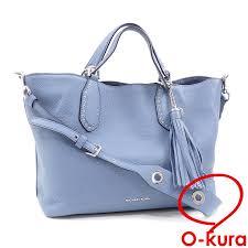 michael kors tote bag lady s blue blue leather 30t7sbns3l michael kors 2way hand shoulder shawl brooklyn
