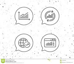 Chart Browser Analysis Line Icons Chart Report And Browser Stock Vector