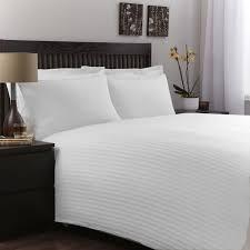 100 egyptian cotton luxury white satin stripe duvet cover bedding set double co uk kitchen home