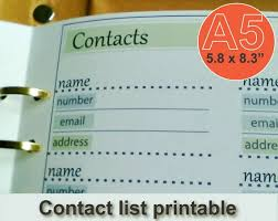 Contact List Templates Mesmerizing Contact List Template Contacts Page A48 Planner Inserts Etsy