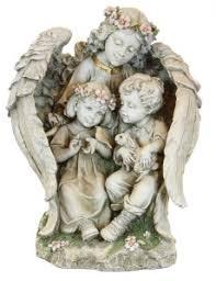 children garden statues. Garden Angel With Children Statue - 15.75\u201c [GAR4001] Statues