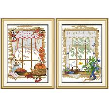 Us 3 94 42 Off Joy Sunday The Windows Of Four Seasons Outside The Window Cross Stitch Pattern Kits Handcraft Make Embroidery With Chart In Package