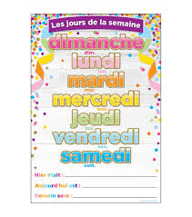 Fabric Days Of The Week Chart French Immersion Chart Confetti Days Of The Week 10pk