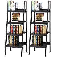 Metal Corner Shelving Unit Unique Yaheetech Pair Of 32 Shelf Black Leaning Ladder Shelf Bookcase