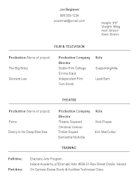 Audition Resume Templates Dance Resume Wikirian Com