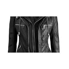 womens hooded faux leather jacket for
