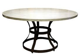 Los Angeles Round Concrete Top Dining Table with Iron Cage Base 1.5 Thick  Top with Rust Colored Powder Coated Flat Iron Base Also Available in Other  Sizes: