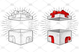 open gift box with ribbon bow ray vector vine engraving exle image 1