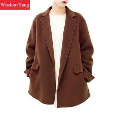 2019 winter warm wool coat beige coffee black jackets sheep woollen suit coats women shorts oversize loose woolen overcoat outerwear from zhenhuang