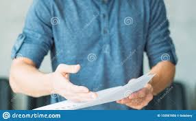 Man Hand Point Fact Document Business Papers Proof Stock