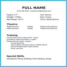 Musical Theater Resume Template Jospar