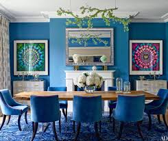 Blue dining room furniture Silver Blue This Dining Room Is Bold Unique And Innovative The Smashing Dining Room Table Chairs In Bright Bold Blue Looks Exquisite And The Outstanding Rug That Dining Room Lighting Whats Hot On Pinterest Keep Calm With These Blue Dining Rooms