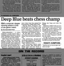 Image result for Deep Blue beats Kasparov at chess newspapers