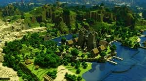 9 0 1366x768 93407 minecraft house logo preview wallpaper minecraft trees houses mountains water