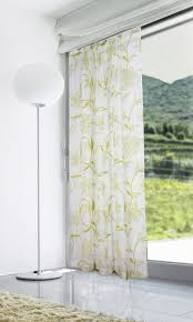 lucille flock voile curtain panel lime on cream voile
