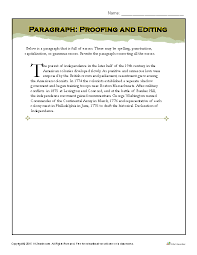 Paragraph: Proofing and Editing | Printable Writing Worksheets