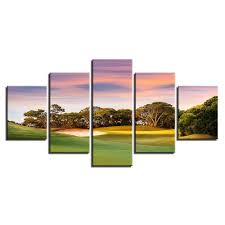 sunset golf course canvas wall art paintings 1 on golf club wall art with framed 5 piece sunset golf course canvas wall art paintings home