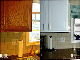 contemporary kitchen decoration with repainting kitchen cabinets plus glass window also tile backsplash