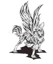 tribal wolf with wings drawing. Modren Wings Winged Wolf Line Tattoos Cool Tribal Faith  Tatoos With Wolf Wings Drawing D