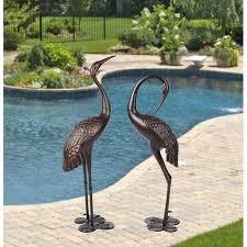 metal cranes for yard garden sculpture