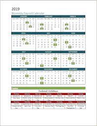 Payroll Calendar Template Custom Payroll Calendar Template Bi Weekly Pay Biweekly With Holidays