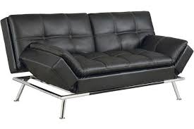 Contemporary Modern Leather Sofa Bed Matrix Pillowtop Bonded Black On Perfect Design