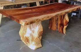 teak tree trunk dining table