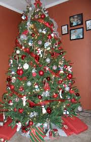 Christmas Trees  WeddingbeeRed Silver And White Christmas Tree