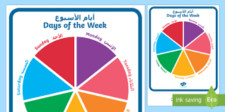 Days Of The Week Chart Days Of The Week Circular Display Sign Arabic English