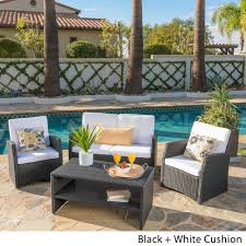 sanger outdoor 4 piece wicker seating set by christopher knight home on today overstock 8778818