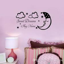 sleeping moon star cloud sweet dream personalized name wall sticker vinyl art diy baby bedroom decor decorative wall decals removable decorative wall