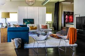 peacock blue furniture. Bertoia Diamond Chairs, Peacock Blue Sofa, Orange And Teal Color Scheme Eclectic-living Furniture S