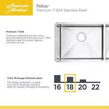 American Made Kitchen Sinks American Standard Pekoe Undermount Stainless Steel 29 In Double