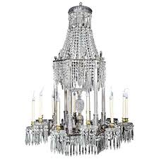 large antique english regency cut crystal and bronze chandelier for