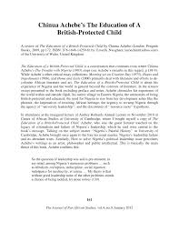 chinua achebe s the education of a british protected child pdf  chinua achebe s the education of a british protected child pdf available