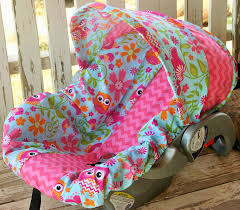 owls and pink chevron infant car seat cover hood owl baby carrier