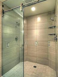 barn door shower transitional bathroom and wall mirror sconce black style hardware sliding glass doors for