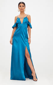 green dresses for wedding. teal frill sleeve split detail satin maxi dress green dresses for wedding
