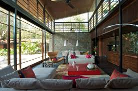 Amusing  Contemporary Country Home Near Bombay  Brick Kiln House    Architecture Chandelier White Sofa Pillow Red Glass Table Fan Railings Wooden Ceiling Roof Wall Decor House