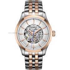 """skeleton watches men s ladies watches watch shop comâ""""¢ mens rotary mecanique skeleton automatic watch gb05034 06"""