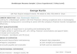 bookkeeping resume sample bookkeeper resume sample 4 bookkeeper resume  objective samples