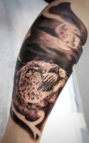 тату леопард на голени у девушки фото татуировок