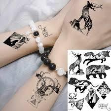 Yuran черная галактика планеты геометрические животные татуировки женские