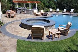 stamped concrete pool patio. Rich Capachione, Owner Of New England Hardscapes, And His Crew Used Their Stamped Concrete Hybrid Technique To Create This A Decorative Pool Deck Patio N