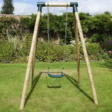 rebo kids wooden garden swing set childrens swings solar single swing