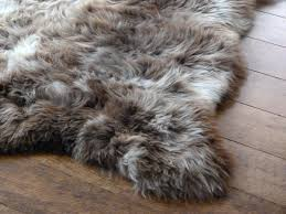 brown grey faux fur rug