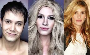 ballesteros uses his painting skills to actually achieve the look of american celebrities make