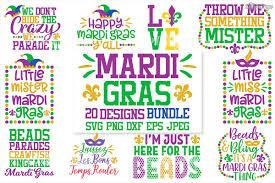 Mardi Gras Designs Mardi Gras Svg Bundle Of 20 Designs Dxf Png Cutting Files